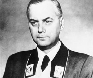 Reich Minister Alfred Rosenberg in his uniform in Germany on March 12, 1944. (AP Photo)